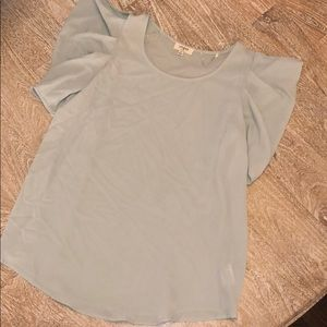 Umgee small blouse green poofy sleeves